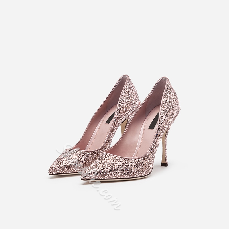 Shoespie Rhinestone Stiletto Heel Pointed Toe Pumps