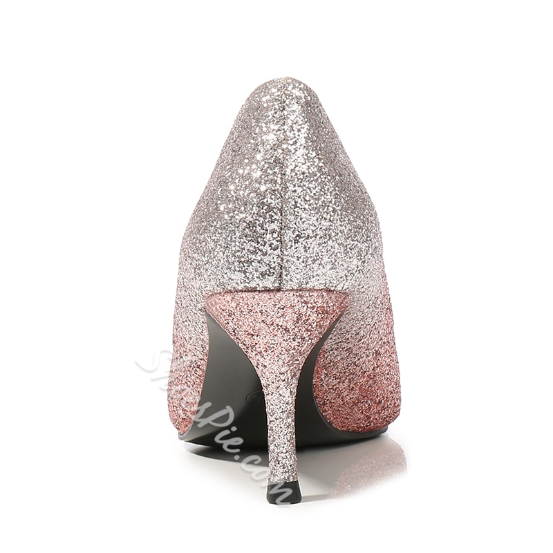 Shoespie Rhinestone Glitter Gradient Pumps