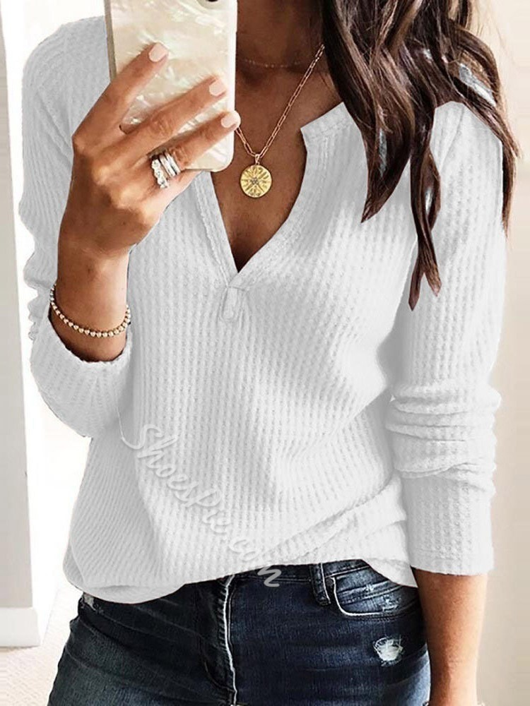 Long Sleeve Plain Standard Fashion Women's T-Shirt