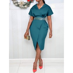 Knee-Length Split V-Neck High Waist Office Lady Women's Bodycon Dress