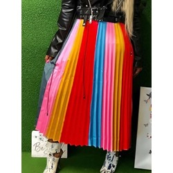 Mid-Calf Patchwork Pleated Western Women's Skirt