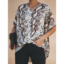 Brown V-Neck Print Regular Standard Women's Blouse