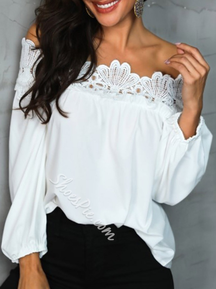 White Off Shoulder Lace Standard Pullover Women's Blouse
