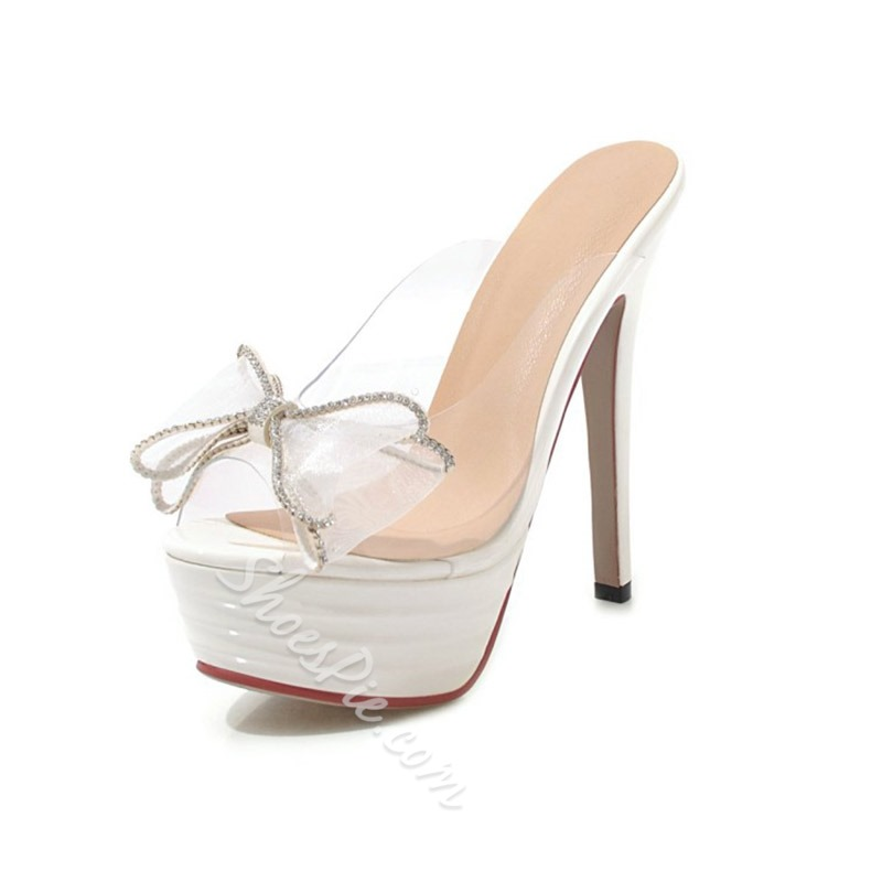 Shoespie Bow Clear Backless Slippers