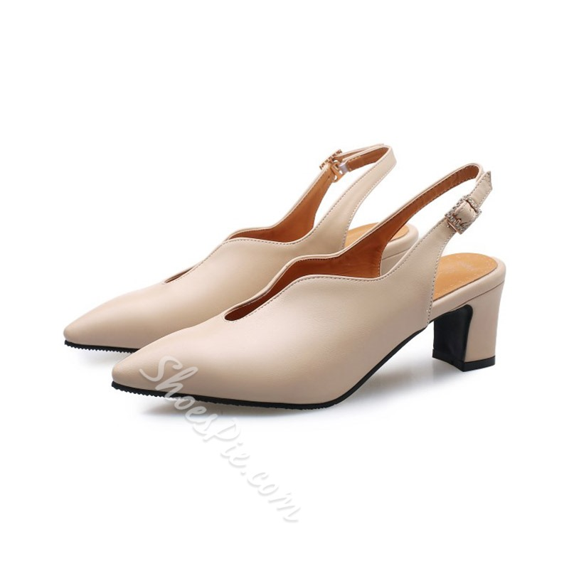 Shoespie Pointed Toe Chunky Heel Slingback Strap Low Heels