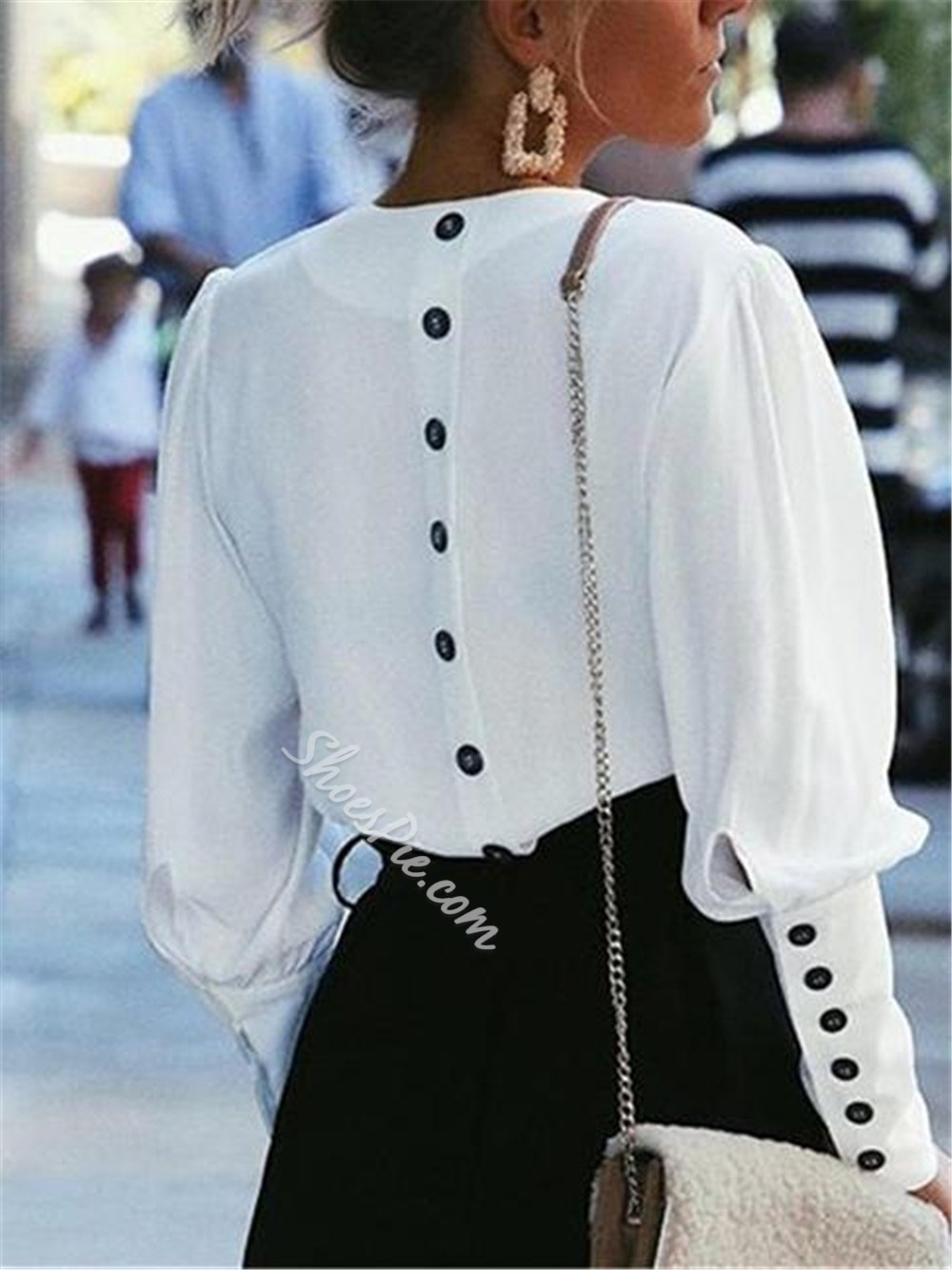 Puff Sleeve Patchwork V-Neck Long Sleeve Women's Blouse