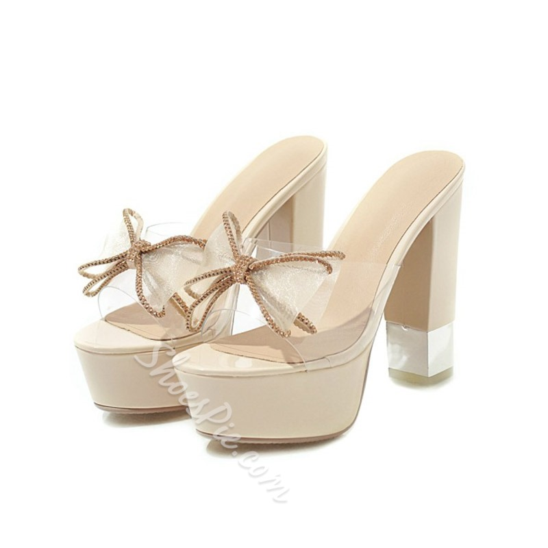 Shoespie Bowknot Clear Chunky Heel Mules