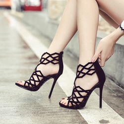Shoespie Zipper Stiletto Heel Hollow Black Sandals