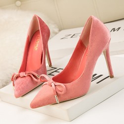 Shoespie Bow High Heel Pointed Toe Pumps
