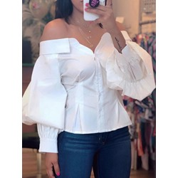 White Lantern Sleeve Patchwork Long Sleeve Women's Blouse