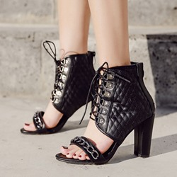 Shoespie Black Zipper Chunky Heel Hollow Sandals