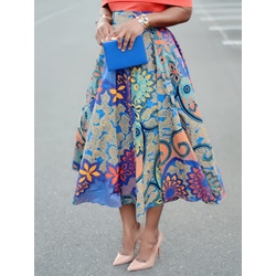 A-Line Mid-Calf Floral High Waist Women's Skirt