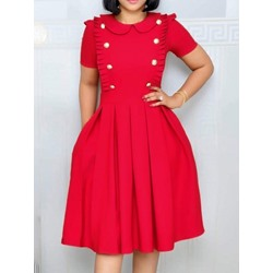 Peter Pan Collar Knee-Length Pleated Women's A-Line Dress