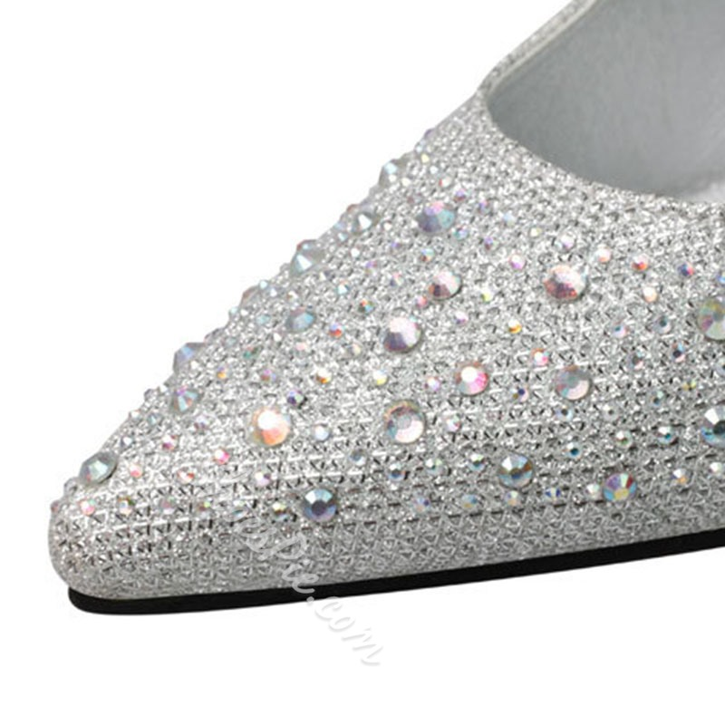 Shoespie High Heel Rhinestone Prom Pumps