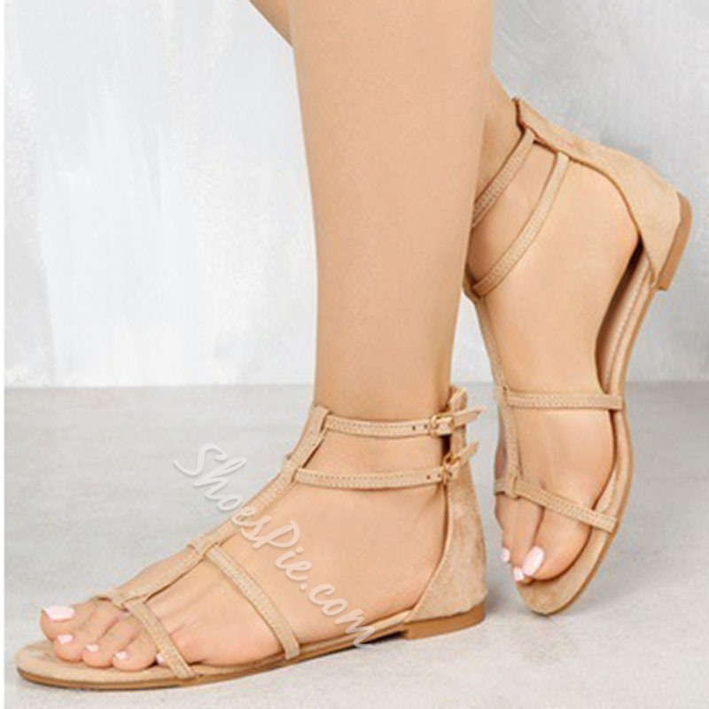 Shoespie Buckle Open Toe Flat Sandals