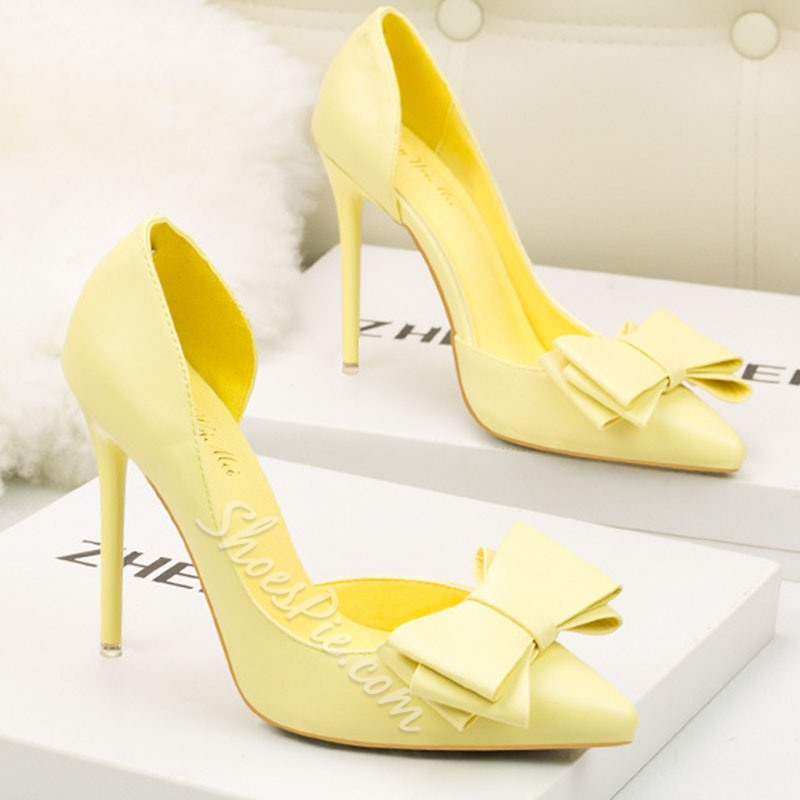 Shoespie Pointed Toe Slip-On Bow Stiletto Heels