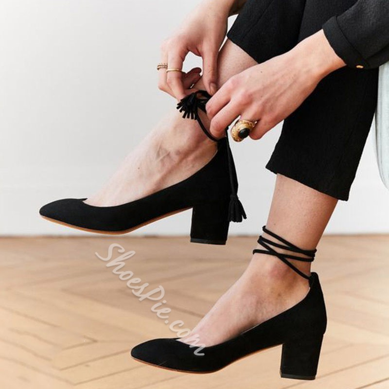 Shoespie Pointed Toe Strappy Tassel Shoes