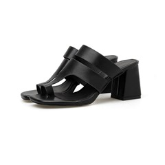 Shoespie Black Toe Ring Chunky Heel Casual Slippers