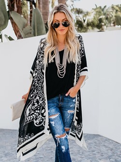 Mid-Length Wrapped Print Western Women's Trench Coat
