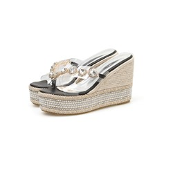 Shoespie Clear Rhinestone Wedge Heel Summer Slippers