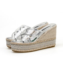 Shoespie Beads Wedge Heel Cross Clear Slippers