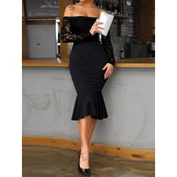 Knee-Length Lace Long SleeveWomen's Bodycon Dress