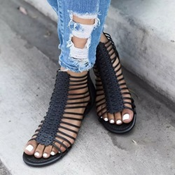 Shoespie Flat Zipper Open Toe Casual Sandals