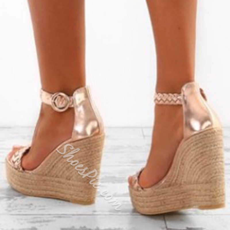 Shoespie Wedge Heel Zipper Large Size Sandals