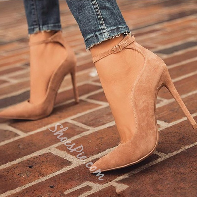 Shoespie Stylish Beige Buckle Pointed Toe Stiletto Heels