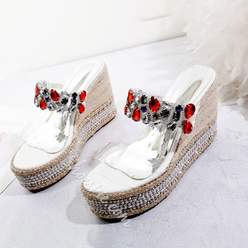 Shoespie Rhinestone Wedge Heel Slip-On Sandals