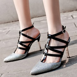 Shoespie Sexy Buckle Glitter Ankle Strap High Heels