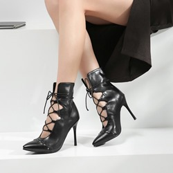Shoespie Lace-Up Strappy Pointed Toe Black Boots