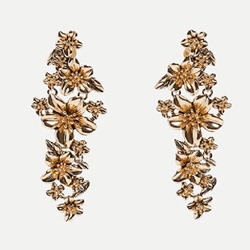 Floral Shape E-Plating Alloy Drop Earrings