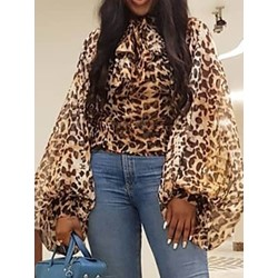 Lantern Sleeve Leopard Long Sleeve Women's Blouse