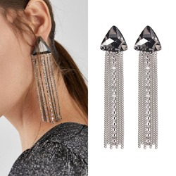 Shiny Full Drill Claw Chain Tassel Earrings