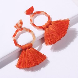 Living Coral Tassel Bohemian Resin Party Earrings