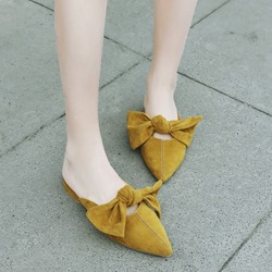 Shoespie Bowknot Closed Toe Flat Slippers