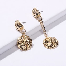 Chic Gold Coin Shape Irregular Drop Earrings
