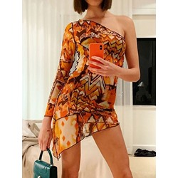 Nine Points Sleeve Asymmetric Pullover Geometric Women's Bodycon Dress