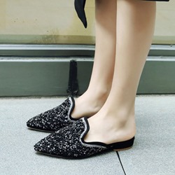 Shoespie Sequin Slip-On Pointed Toe Slippers