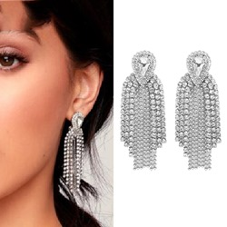 Twinkling Rhinestone Tassel Alloy Party Earrings