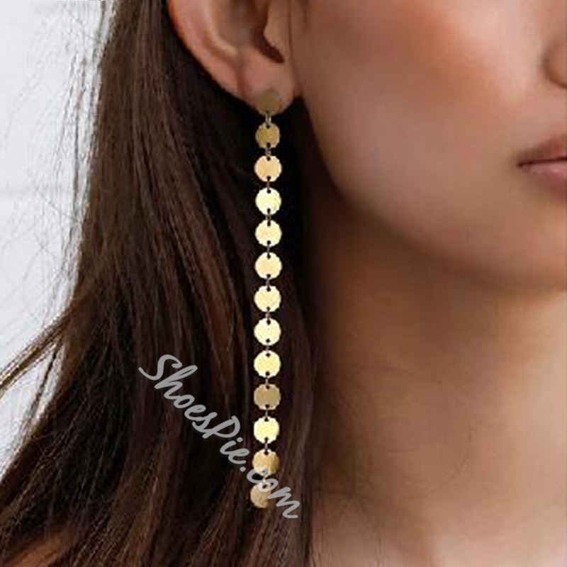 Gold Sheet Bronze Party Tassel Earrings