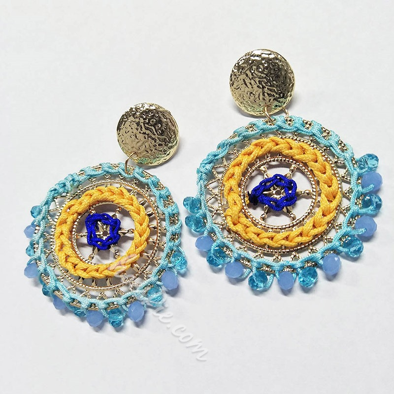 Round Colored Weaving Bohemian Drop Earrings