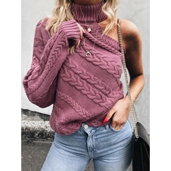 Twist Knitted Hanging Neck Long Sleeve Women's Sweater