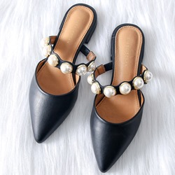 Shoespie Beads Flat Rubber Slippers