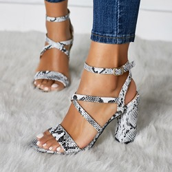 Shoespie Ankle Strap Buckle Snake Print Sandals