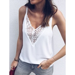 Summer Polyester Lace Standard Women's Tank Top