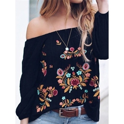 Embroidery Floral Off Shoulder Long Sleeve Women's Blouse