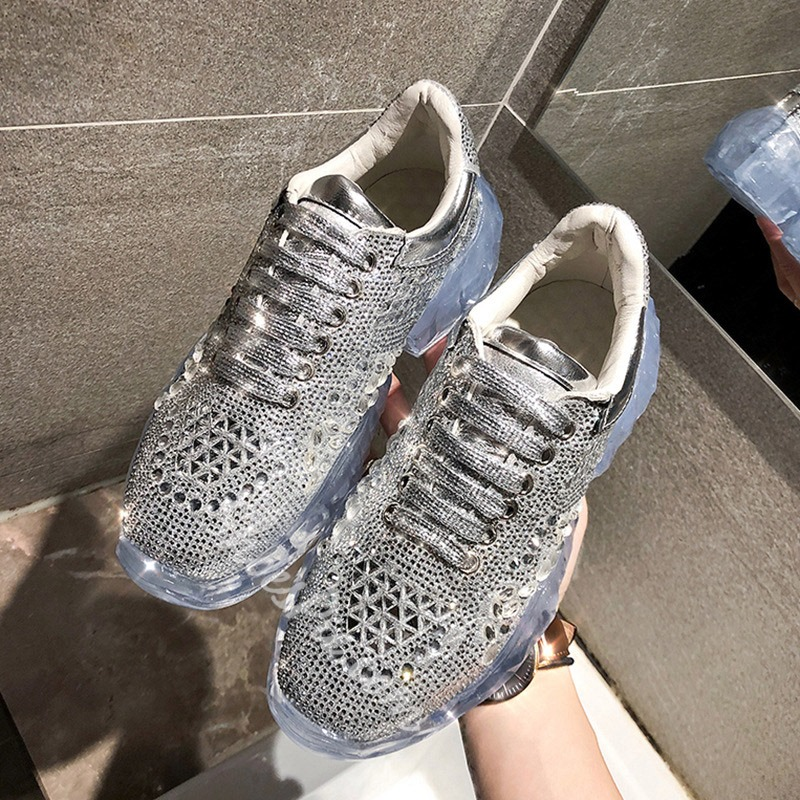 Shoespie Beaded Glitter Casual Chunky Sneakers