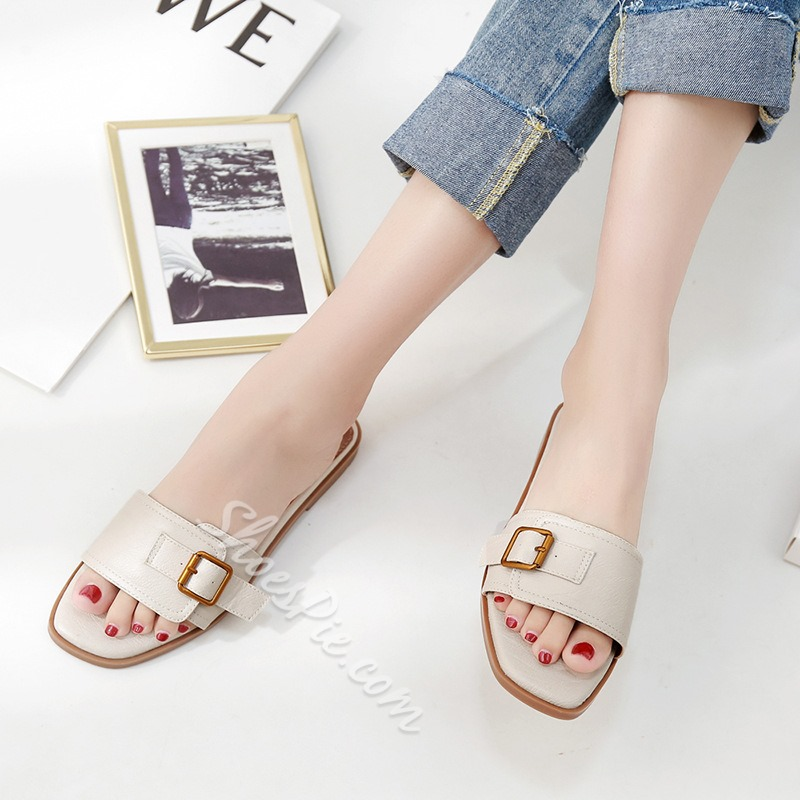 Shoespie Flat Backless Buckle Slippers